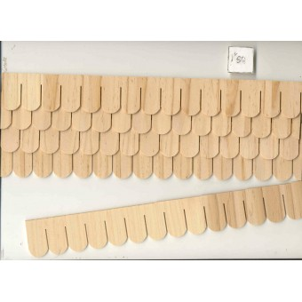 Shingles Strip Fishscale 7405  1/12 scale dollhouse roofing wood Houseworks 12pc