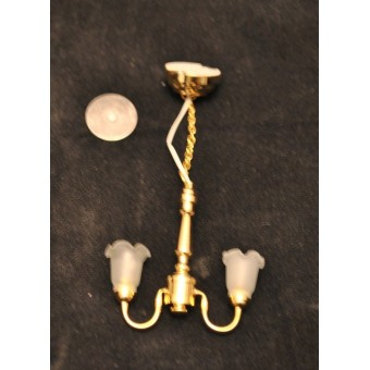 Light - LED 2-Arm Frost Tulip Chandelier 2333 1/12 scale replaceable battery